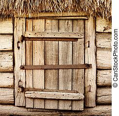 bois, rustique, vieux, porte