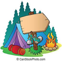 bois, signe, camper tente
