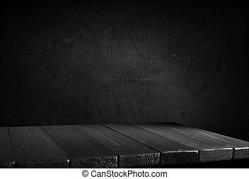 bois, sombre, table, fond, brouillé, conception