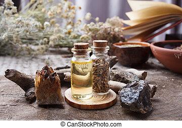 bois, sorcière, occulte, vieux, concept., objets, vendange, wicca, fond, magie, herbes, bouteilles, sec, fleurs, divination, table., pierres, ésotérique, apothicaire, mystique