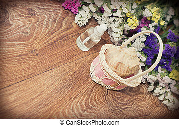 bois, spa, objets, fond