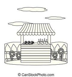 bois, stalle, dessin animé, marché