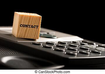 bois, téléphone, cube, mot, contact