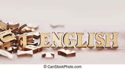 bois, texte, lettres, anglaise