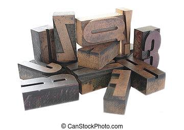bois, type, letterpress, arrangement