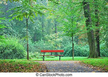 bois, unique, forêt parc, banc