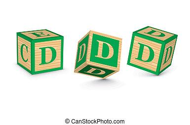bois, vecteur, blocs, d, lettre