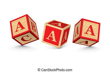 bois, vecteur, blocs, lettre