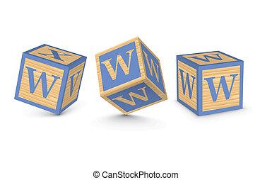 bois, vecteur, blocs, lettre, w