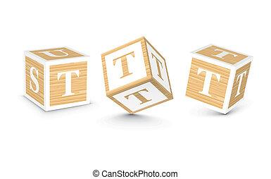 bois, vecteur, blocs, t, lettre
