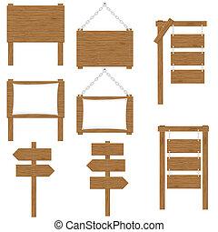 bois, vecteur, conseils, signes