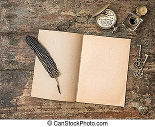 bois, vendange, écriture, accessories., livre, textured, backg, ouvert