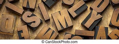 bois, vendange, letterpress, impression bloque, type