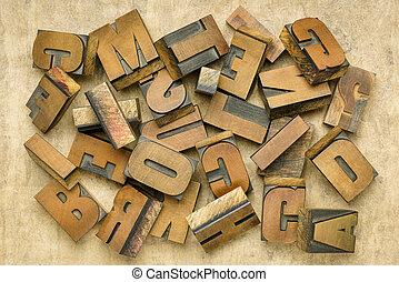 bois, vendange, letterpress, type, impression bloque