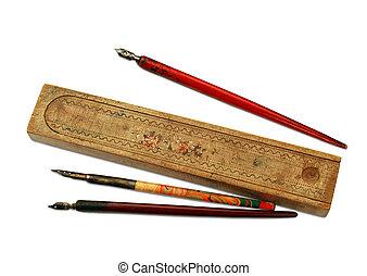 bois, vendange, pen-case, stylos