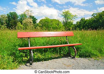 bois, verdure, parc, printemps, banc