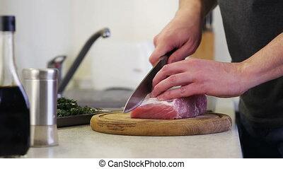 bois, viande coupe, cuisine, planche