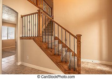 bois, vide, intérieur, balustrade, escalier, rampe, métal, maison, moquetté, nouveau