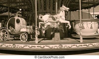 bois, vieux, carrousel