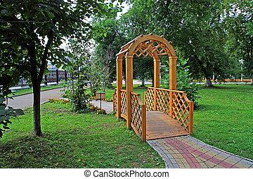 bois, ville, pavillon, parc