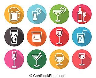 boisson, alcool, plat, rond, d, boisson