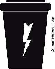 boisson carbonatée, énergie, style, simple, icône