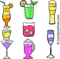 boisson, doodles, ensemble, divers, collection
