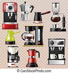 boisson, ensemble café, boisson, express, caféine, illustration, isolé, machine, équipement, vecteur, cappuccino, fond, confection, professionnel, café, transparent, coffee-machine, cafetière
