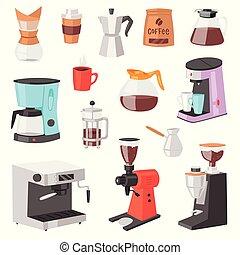 boisson, ensemble café, boisson, express, caféine, illustration, isolé, machine, équipement, vecteur, cappuccino, fond, confection, professionnel, blanc, café, coffee-machine, cafetière