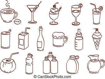 boisson, ensemble, icône
