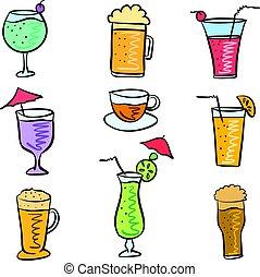 boisson, griffonnage, ensemble, divers, coloré