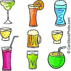 boisson, griffonnage, mettez stylique, collection