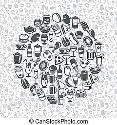 boisson, icônes, nourriture