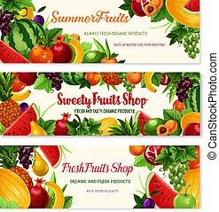boisson, nourriture, fruit, conception, frais, bannière, dessin animé