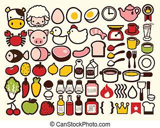 boisson, nourriture, icône, 50