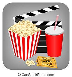 boisson, pop-corn, billets, -, cinéma