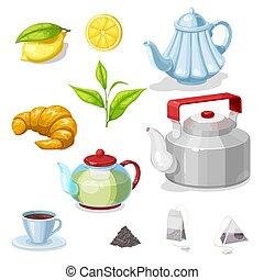 boisson, thé chaud, feuille verte, ensemble, tasse, théière