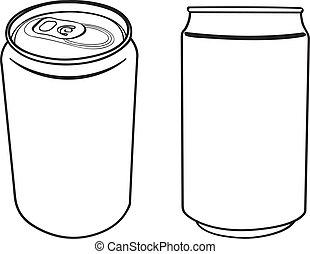 boisson, vecteur, boîte, contour