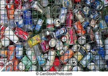 boissons, boîtes, déchets ménagers, assorti