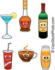 boissons, boisson, dessin animé, caractères