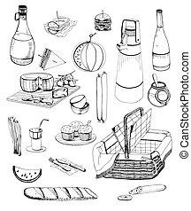 boissons, pique-nique, illustration., articles, set., nourriture, collection, main, basket., divers, dessiné, contour