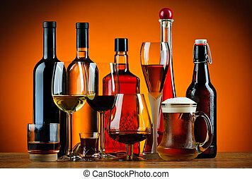 boit bouteilles, alcool, lunettes