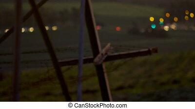 bokeh, véhicule, électricité, lumières, cadre, contre, pylône, 4k