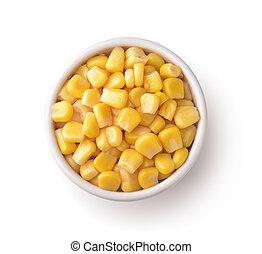 bol, maïs, doux, boîte, céramique