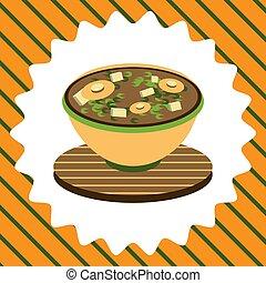 bol, mignon, soupe, illustration, miso