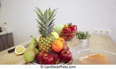 bol, moderne, fruits, table, légumes, cuisine