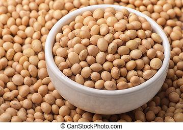 bol, organique, sec, céramique, graines soja