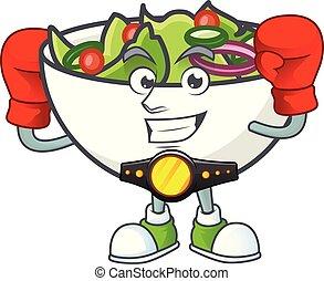 bol, salade, mascotte, boxe