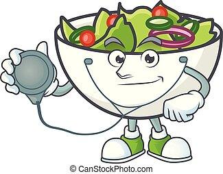 bol, salade, mascotte, docteur