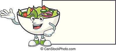 bol, salade, planche, mascotte